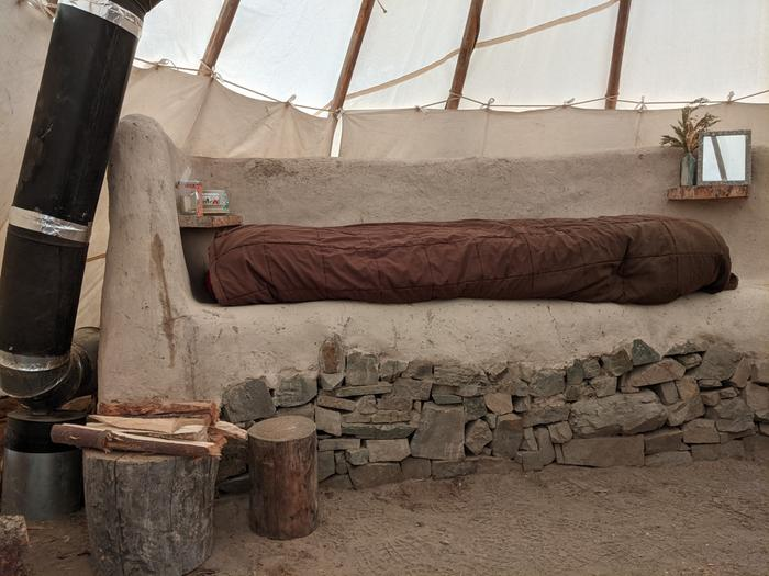 cozy bed inside RMH tipi