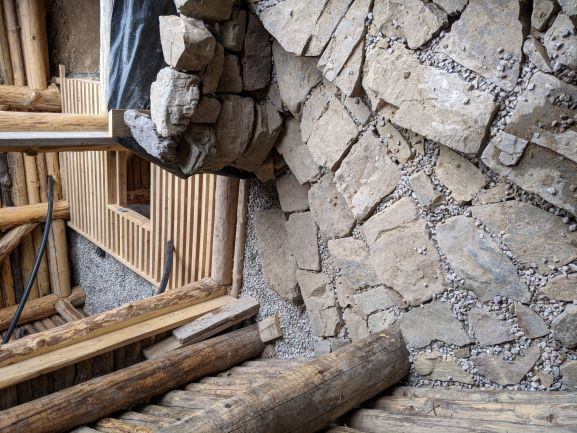 stone stairs in natural passive greenhouse