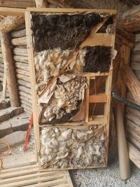 wool insulation in hand-made natural door