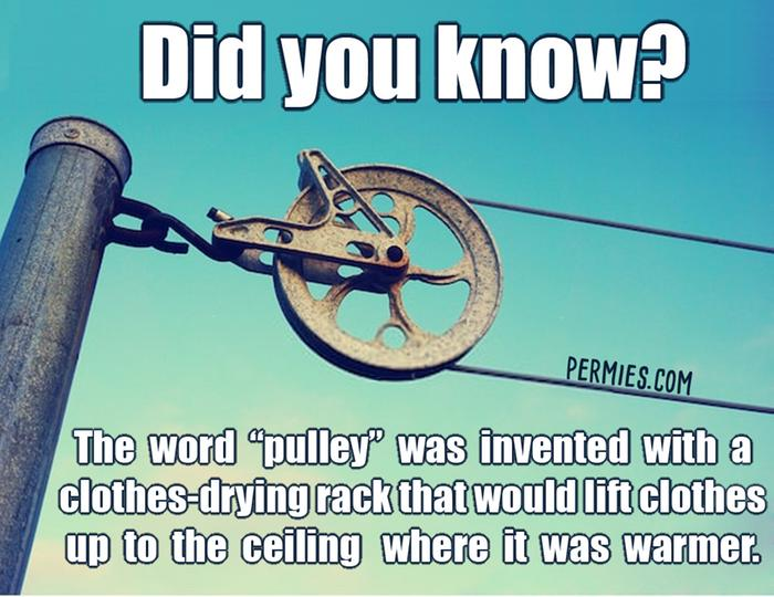 paul wheaton's quote from building a better world book about the word pulley being invented with clotheslines