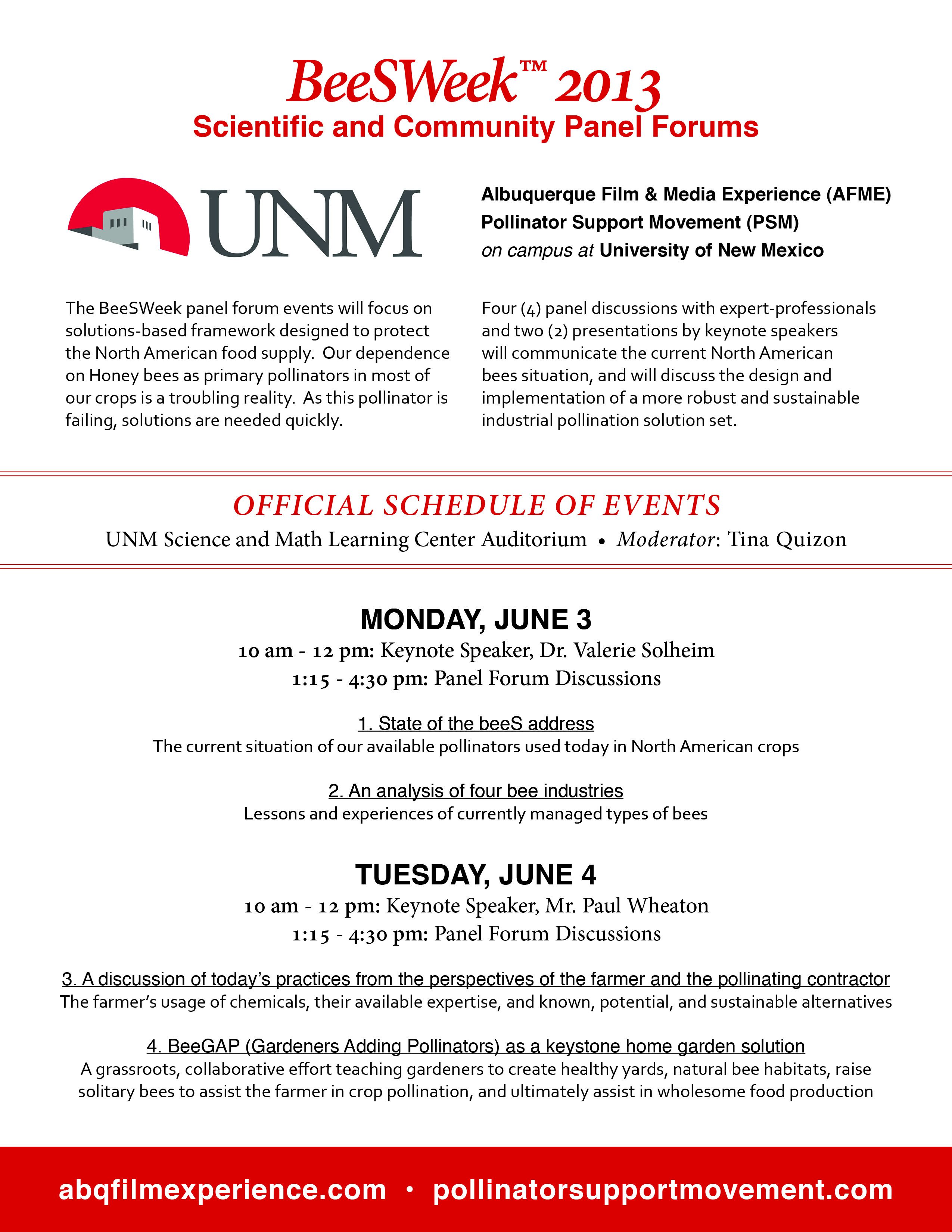 [Thumbnail for BeeSWeek at UNM - Official Schedule of Events.jpg]