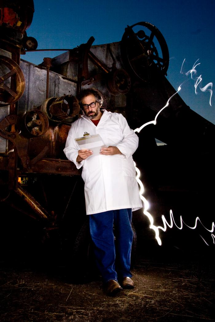 paul wheaton electricty zapping mad scientist labcoat clipboard