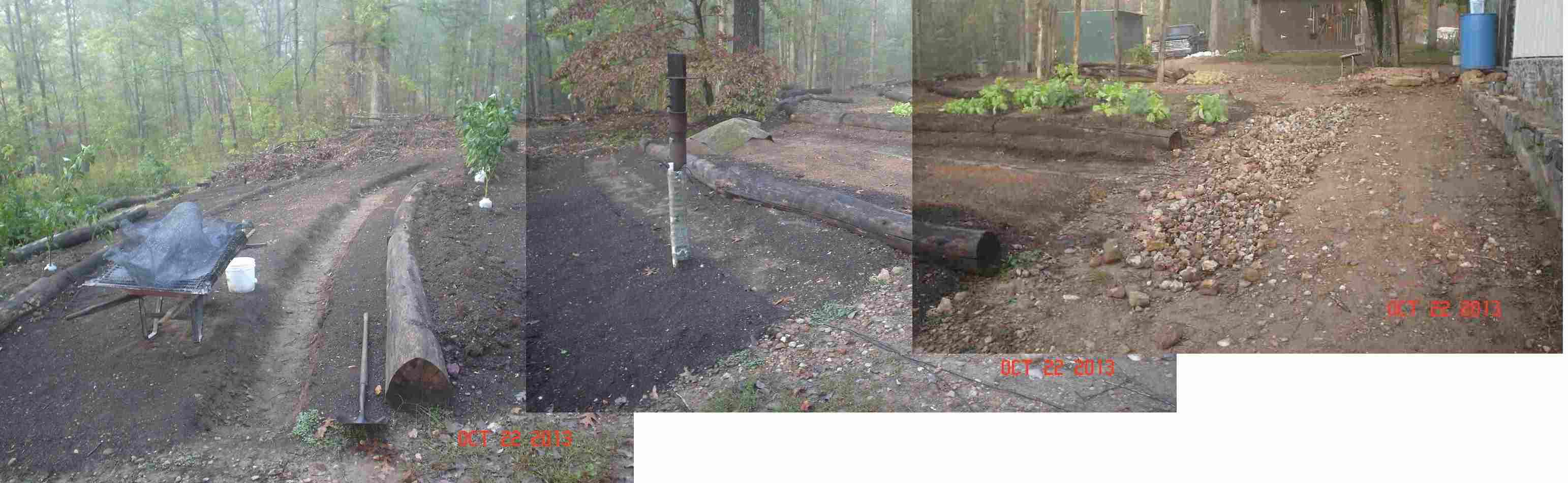 Dale S Roof Runoff French Drain Sunken Hugelkultur Bed