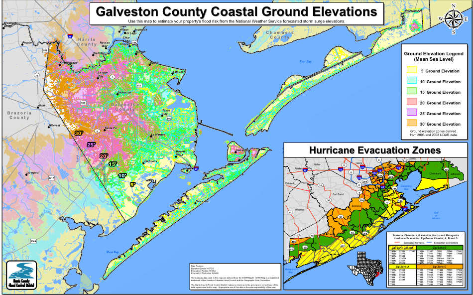 Maps Update Galveston Tourist Map Galveston Fun Map - Ground elevation map