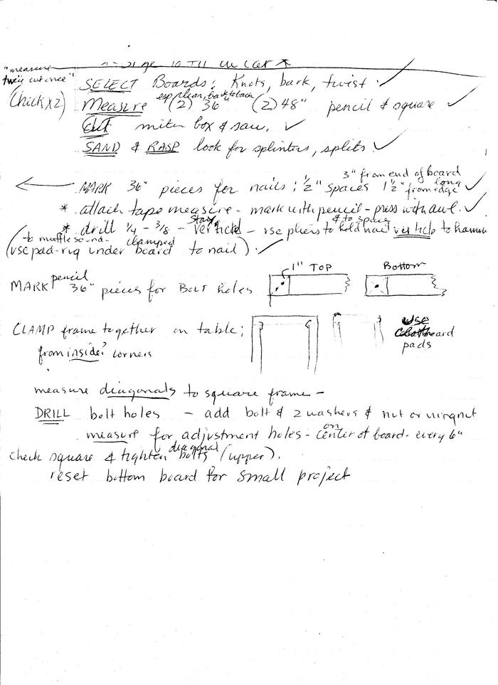 no handout on making the frame, just my notes for class...might be legible enough.