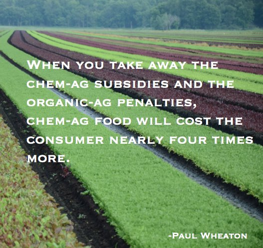 when you take away the chem-ag subsidies and the organic-ag penalties, chem-ag food will cost the consumer nearly four times more