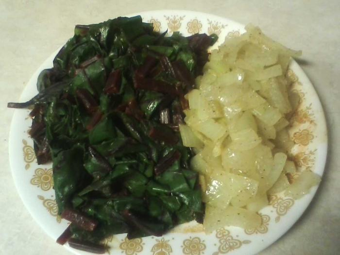 beet greens and onions