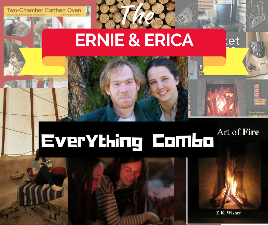Ernie and Erica's rocket mass heater plans, fire science book, builder's guide manual