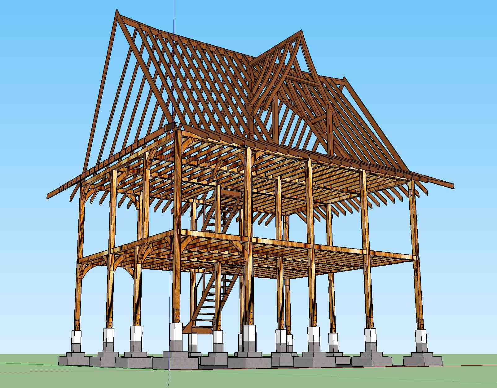[Thumbnail for Framing1.jpg]. Timber Frame using Eucalyptus Camaldulensis