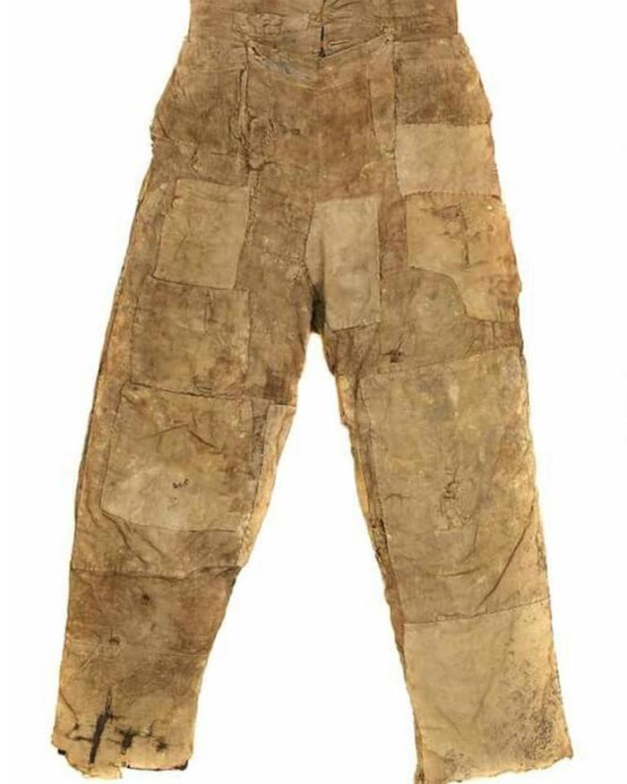 Farm laborers work pants patched and repatched ca 1800 discovered in a chimney in the UK