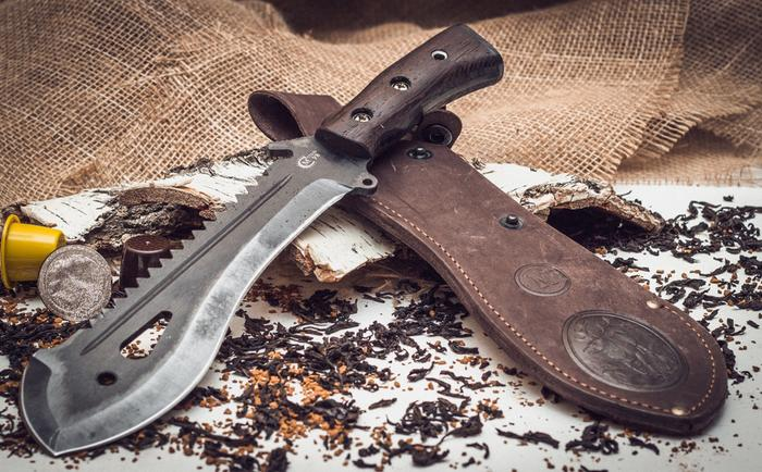 Russian Taiga Machete knife tool_wood handle with leather sheath by Semin, nozhikov.ru