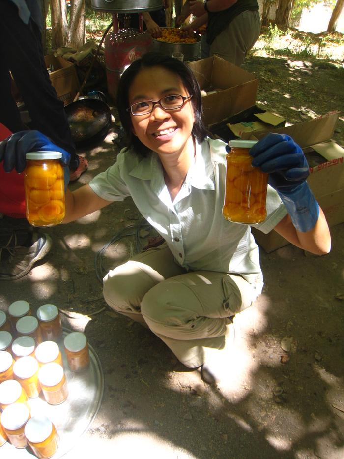 [Thumbnail for Apricot jam picnic - boiling jars with gloves.JPG]