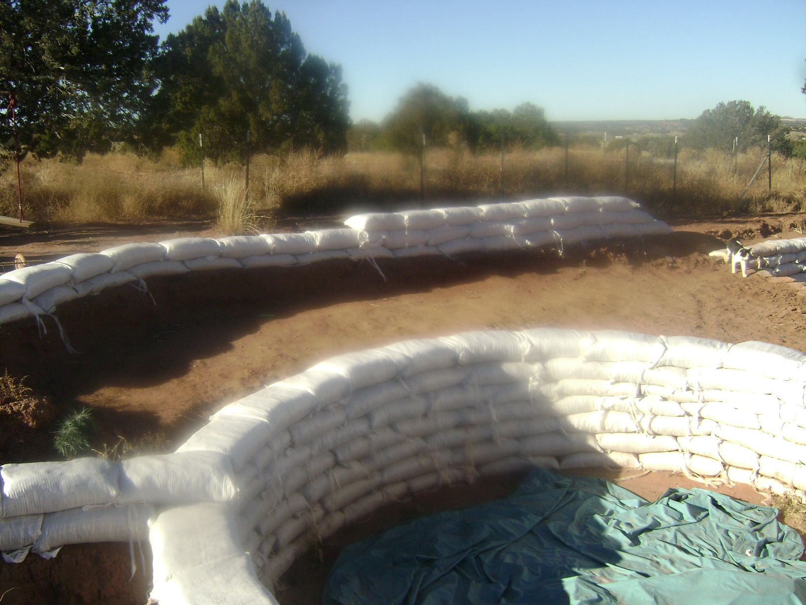 More pics of earth bag swimming pool ponds forum at permies for Pond swimming pool