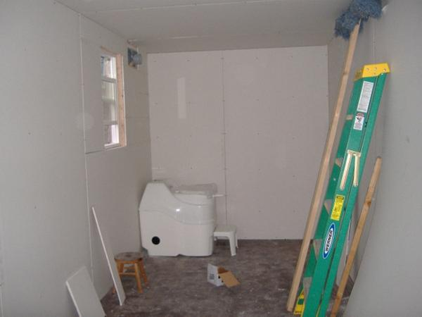 The composting toilet is placed in its approximate final spot