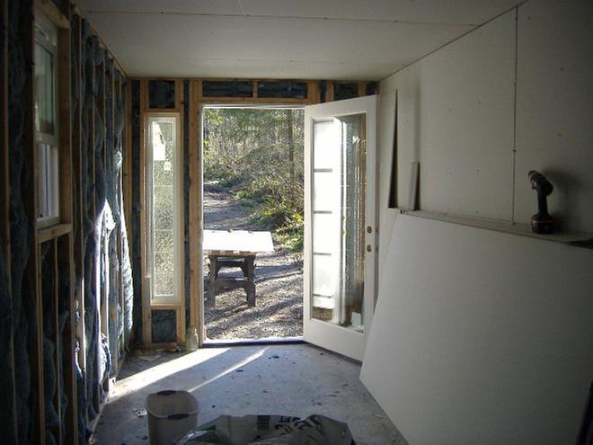 from the back of traincar after adding the insulation