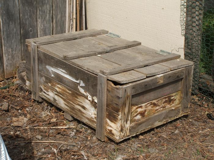 My first box, a shiping crate, still being used