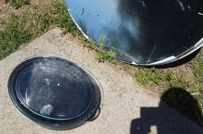 Place in front of solar dish...adjust as needed