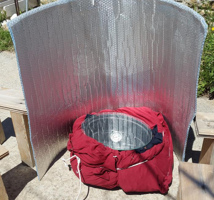 The oven is placed in front of the reflector for 4 hours---100 to 130 C cooking temperature