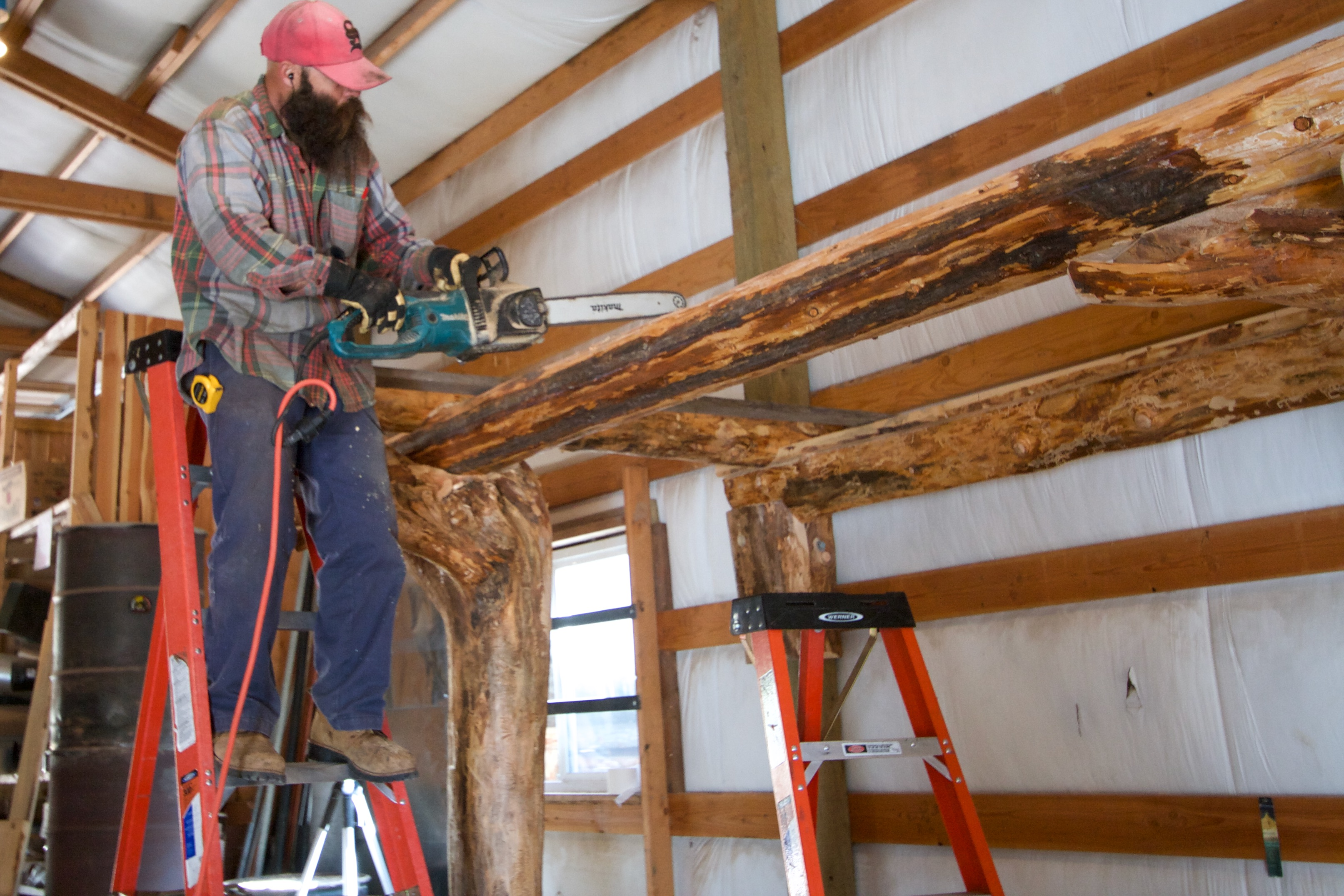 The couch balcony round wood timber framing wheaton for Balcony joists