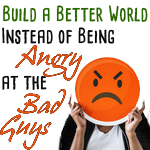 Building a Better World Book with angry emoji face