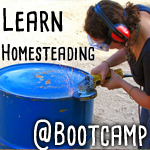 permaculture bootcamp woman working on barrel