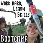 Permaculture bootcamp with people wielding tools
