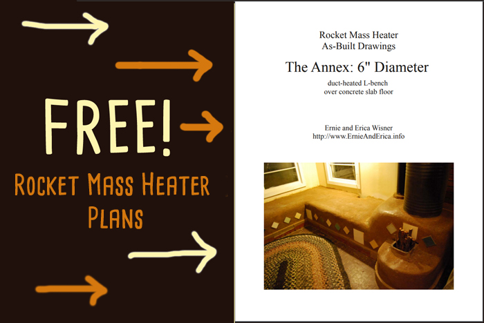 rocket mass heater L-shaped bench plans free by Erica and Ernie Weisner
