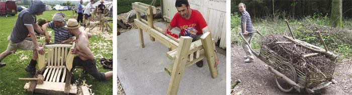 handmade wooden wattle fence wagon, people making greenwood chair, man making a spoke shave