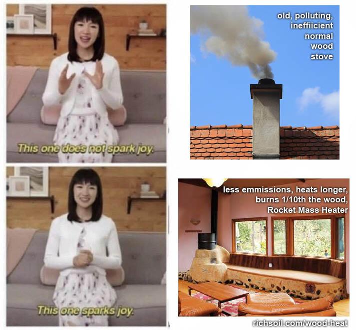 better wood heat RMH sparks joy