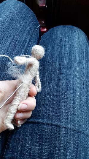 needle-felted figure progress picture