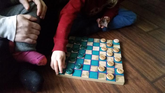 chessboard stained with natural blue copper stain