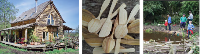 spoon carving, wattle fence making, roundwood homes