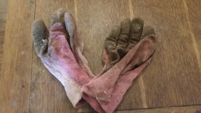 crusty pink work gloves