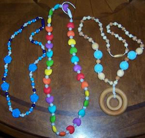 silicone and wooden teething necklaces