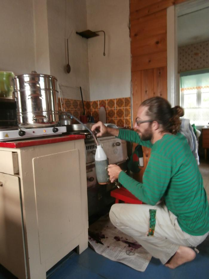 Bottling the hot cordial.