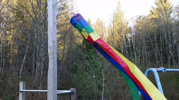 Windsock held on with Extreme Clothespins