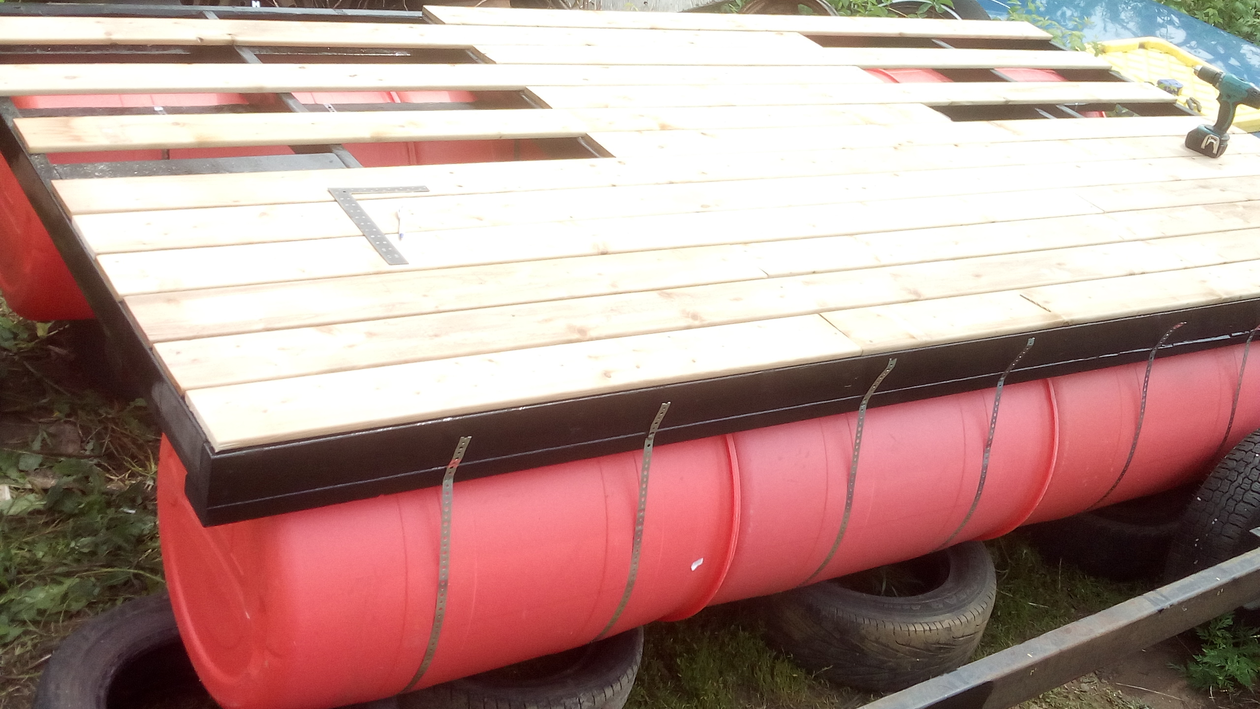 55 Gallon Barrel Pontoon Boat / Dock / Barge (Upcycling