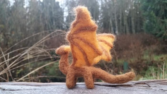 brown needle-felted dragon tiny small