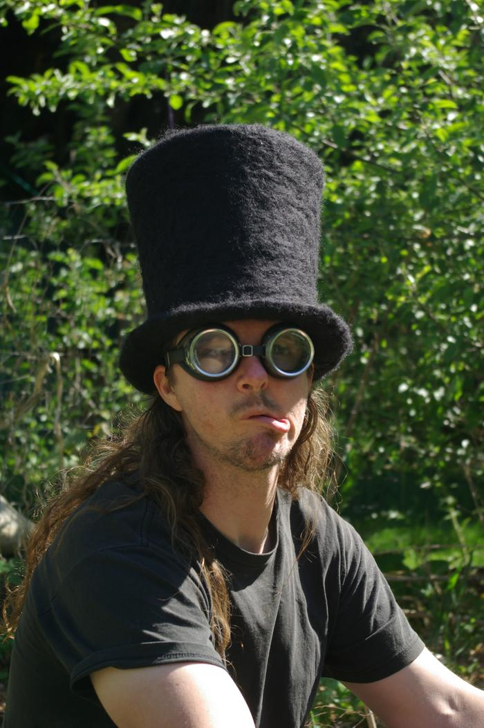 needle-felted, wet felted black tophat steampunk