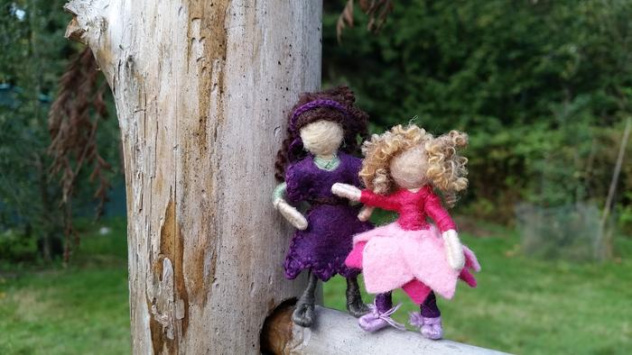 mother-daughter pink and purple waldorf dolls