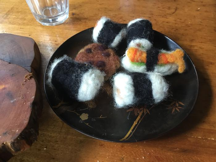 needle-felted sushi and cookie toys