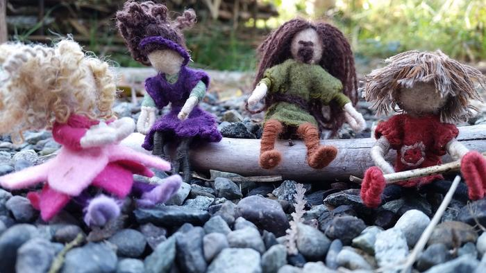needle-felted wool dolls natural family rocks log