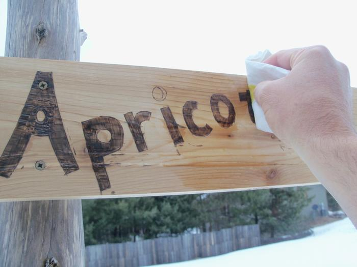 Oiling with linseed oil (this is easier if you do it before hanging)